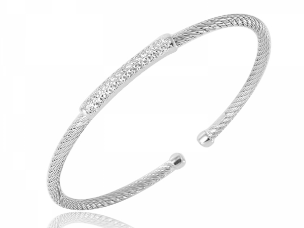 Sterling silver rhodium finish 3mm woven CZ bar cuff.