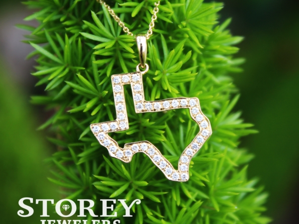 Gold and diamond Texas pendant. Available in yellow and white gold and two sizes of pendants!