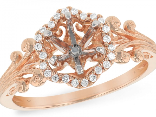 Rose gold and diamond mounting with matching band.