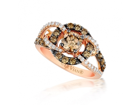 LeVian Ring. Chocolate and Vanilla Diamonds set in Strawberry Gold. 1.56 tdw